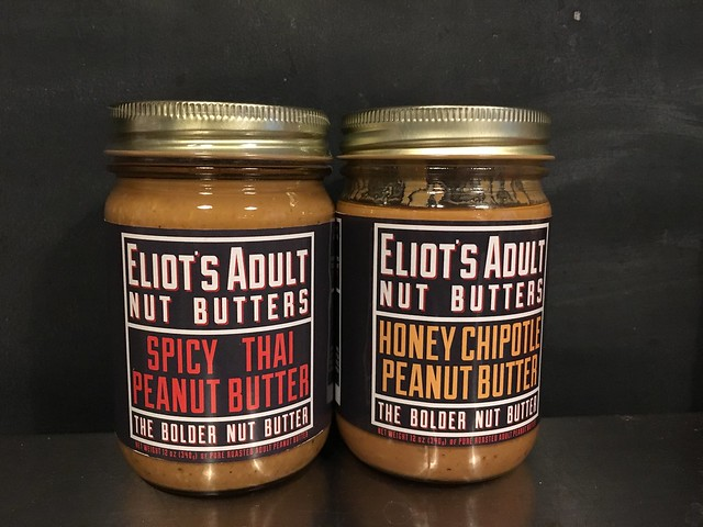 Eliot's Adult Nut Butters spicy thai and honey chipotle peanut butters