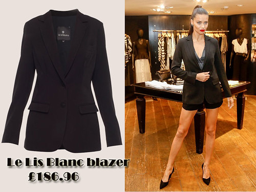 Adriana Lima in Le Lis Blanc blazer & shorts suit
