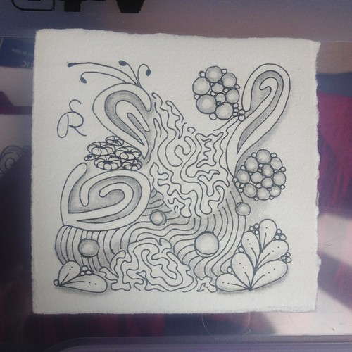 Completed Zentangle with Shading