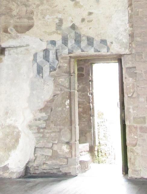 Hall close; painted door lintel