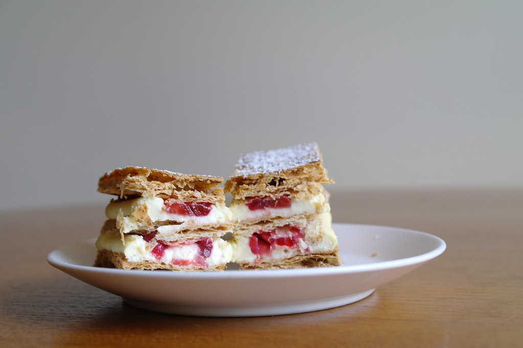 slice of strawberry millefeuille