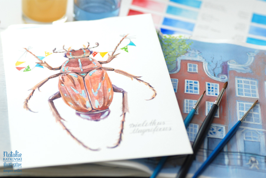 Watercolor beetles