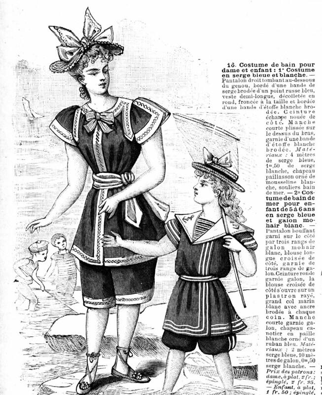 Costume de bain pour dame et enfant, 1894