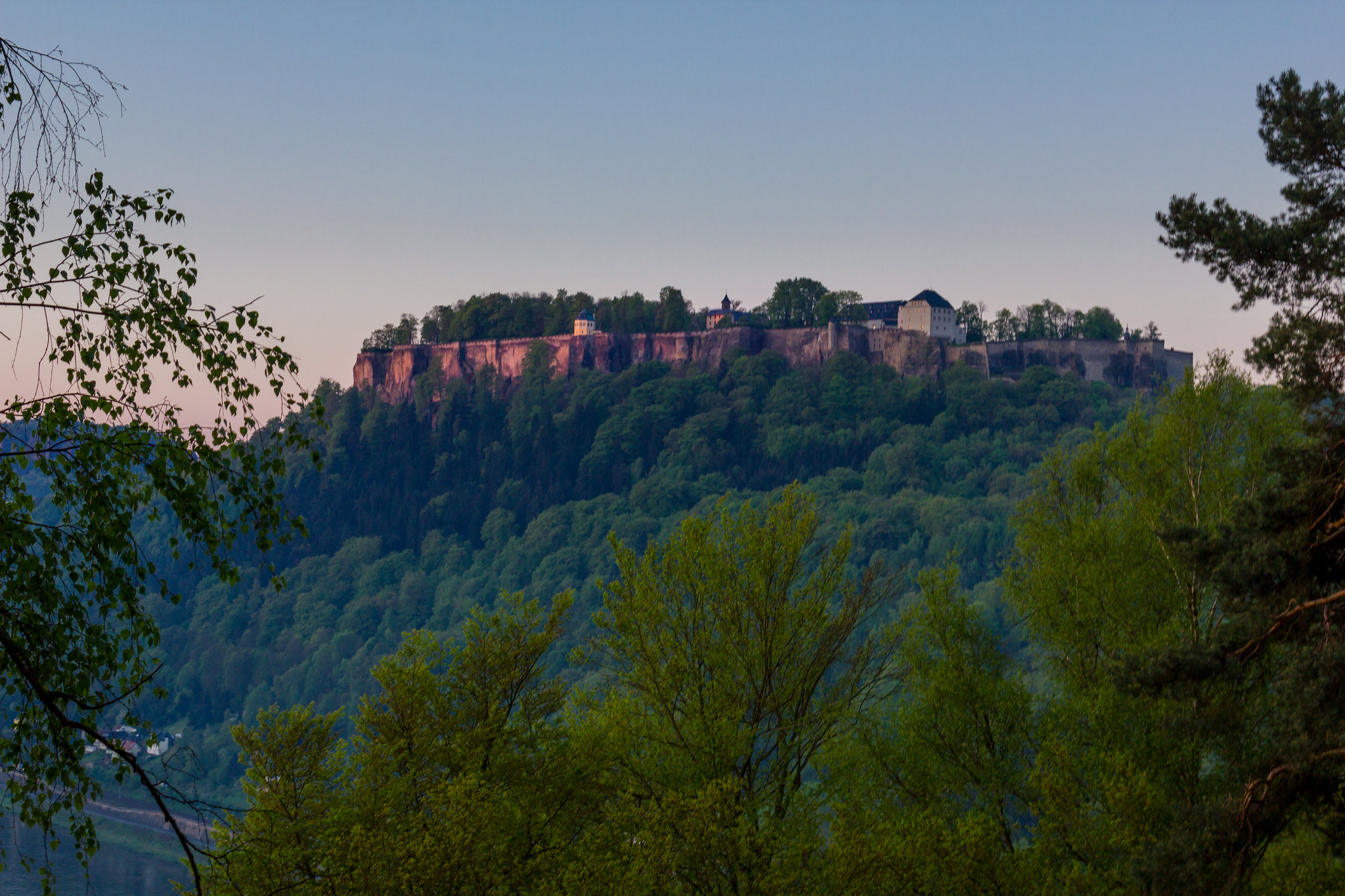 Königstein Fortress while sunrise