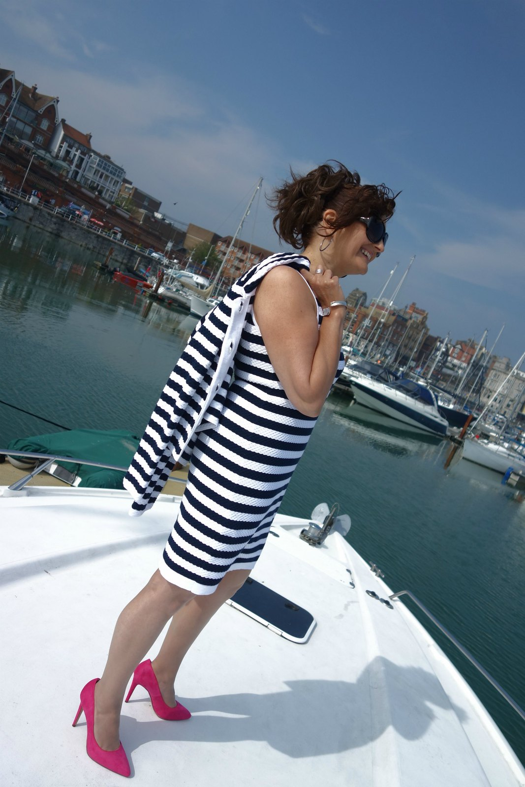 The Barefaced Chic in Winser London | Striped dress and jacket with pink heels