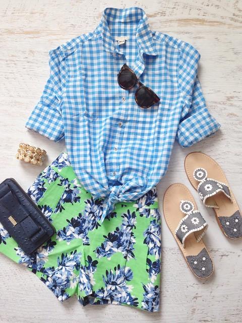 blue ginham + florals