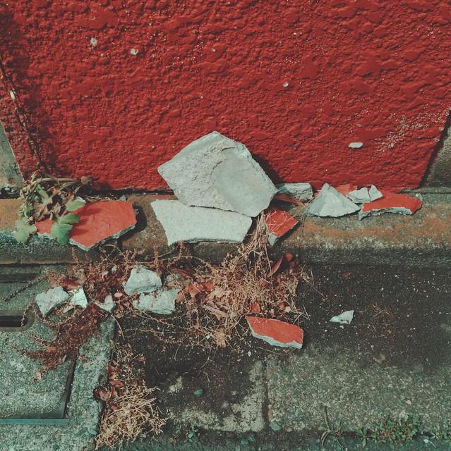 Broken concrete pieces