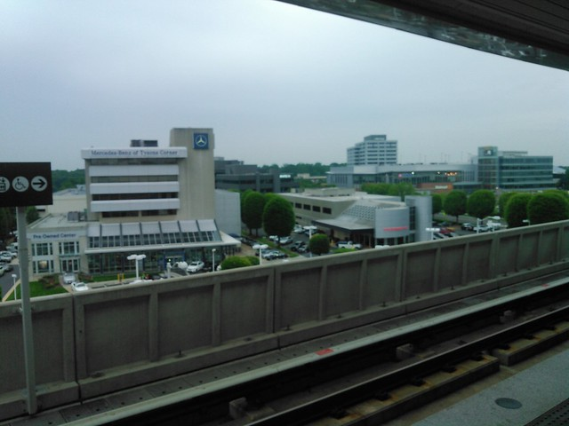 The view of the Walmart and Mercedes Benz dealership in Tysons Corner from the Spring Hill Metro Station - Vienna Va