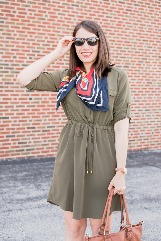 red wedge sandals, + green shirt dress + red patterned scarf + cognac tote; summer work outfit | Style On Target