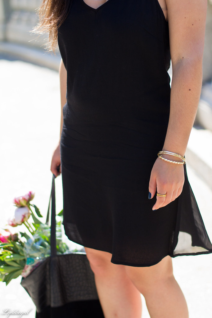 black slip dress, silver vionic sandals, black tote, peonies-7.jpg
