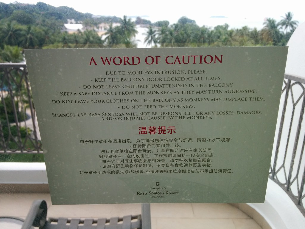 Warning notice, Shangri La resort, Sentosa, Singapore