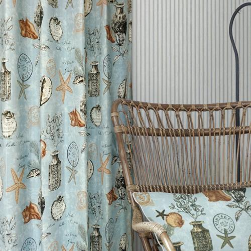 海洋之藝(獨家) 大海景象 貝殼 海星 海螺 防光(遮光)窗簾布 DA1290155