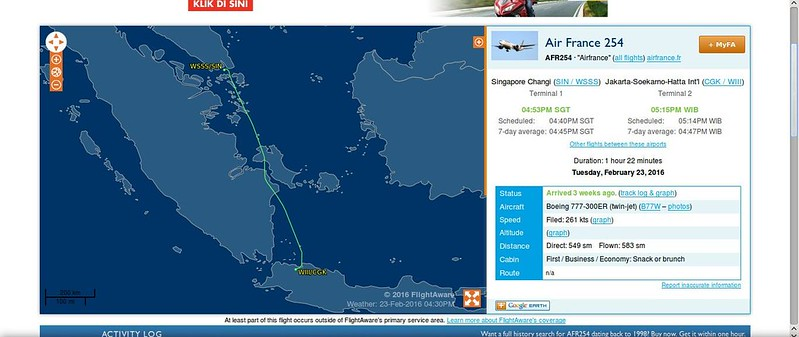 First Time & Last Time by Air France, Singapore-Jakarta - Airliners.net