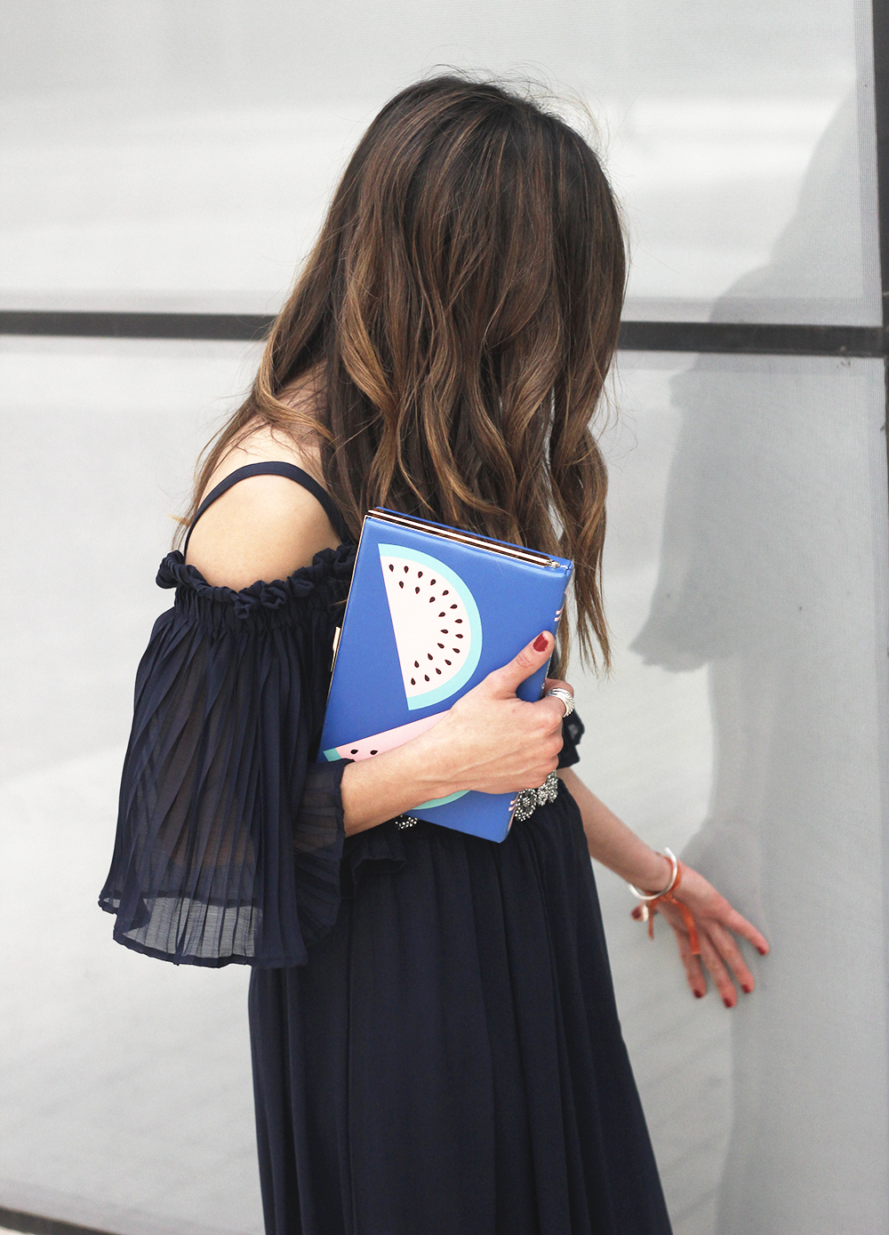 A Midi Dress With Pleated Ruffles heels clutch accessories sunnies fashion outfit summer25