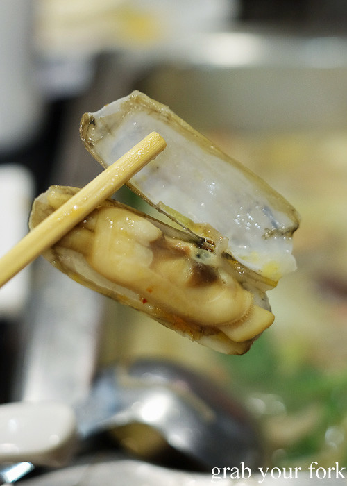 Cooked razor clams or bamboo clams at Shancheng Hotpot King, Sydney