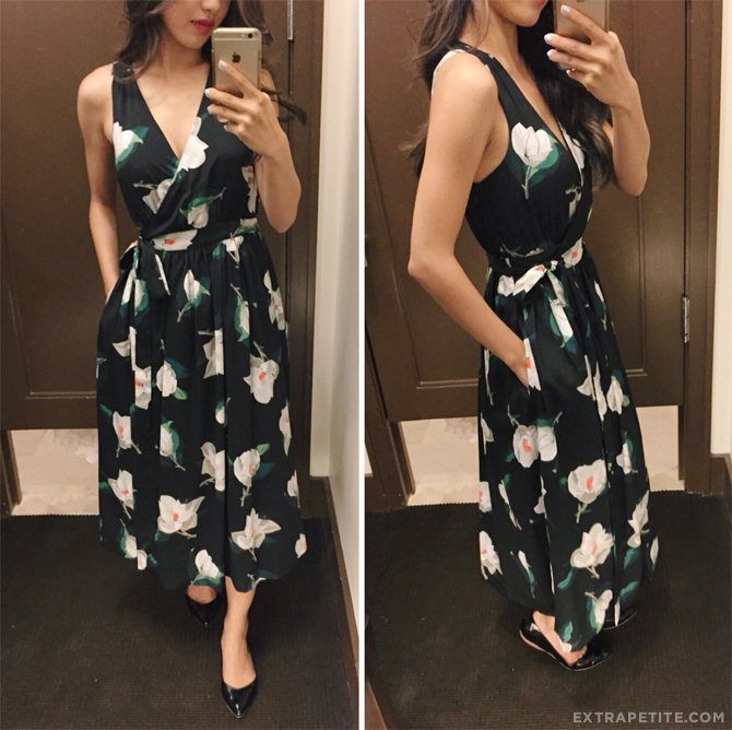 banana republic petites floral midi wrap dress