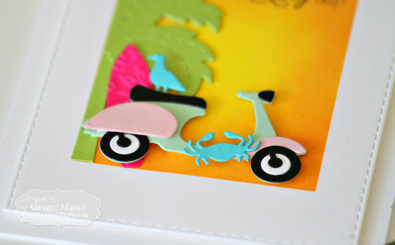 Scooter Summer card closeup #1 by Gayatri Murali