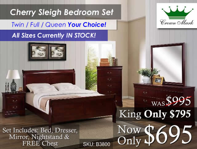 Cherry Sleigh All in stock - King upgrade