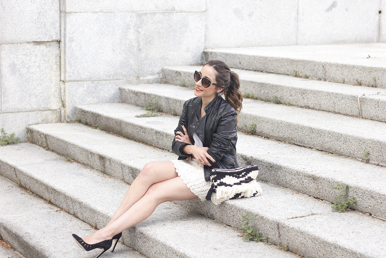 crochet skirt leather jacket black heels sunnies spring outfit style05