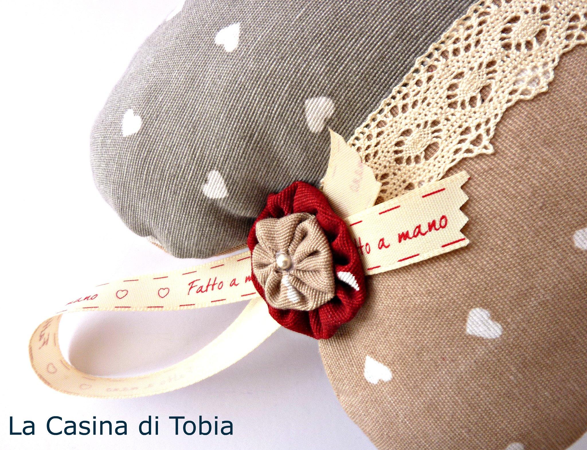 cuore di stoffa personalizzato e profumato handmade La casina di Tobia
