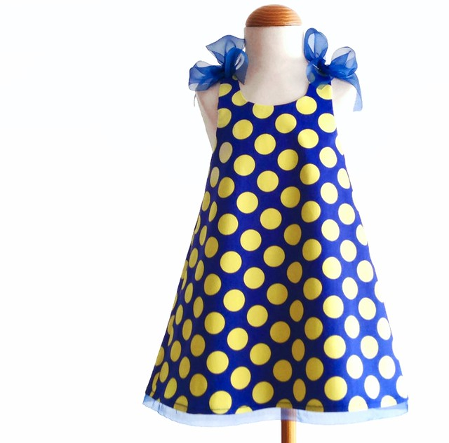 polka dots blue and yellow 3T dress