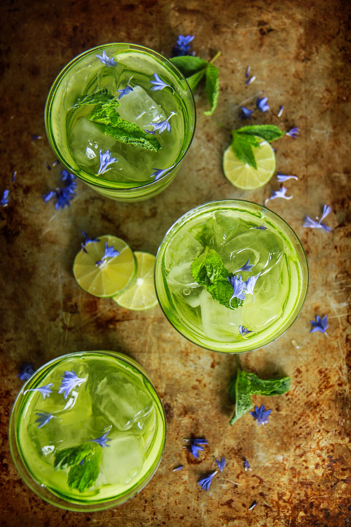 Cucumber Mint Gin and Tonics from HeatherChristo.com