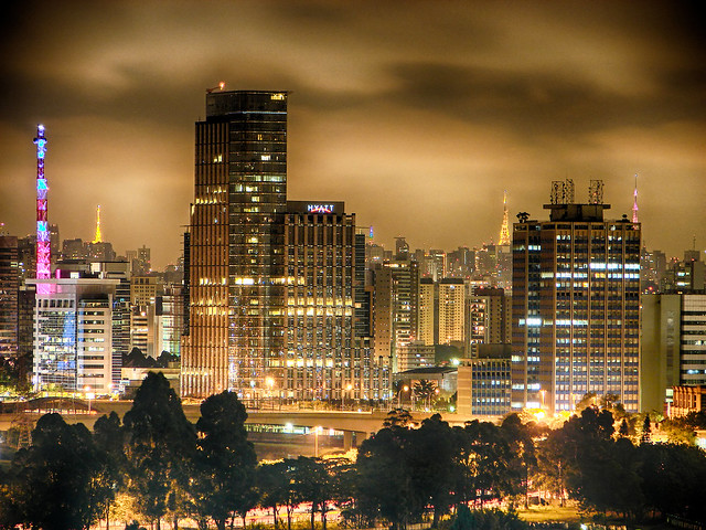 Downtown Sao Paulo at night.