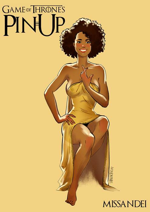 Risqué Game of Thrones pin-up girls by Andrew Tarusov - Missandei