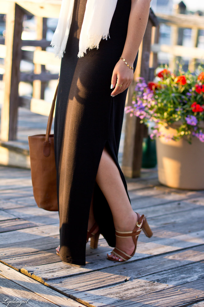 black maxi dress, white scarf, brown leather tote-4.jpg