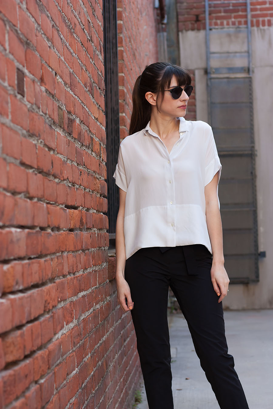 Grey Silk Shirt, Everlane, JINS eyewear, COS Tie Waist Pants