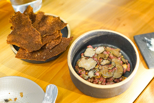 WAGYU BEEF TARTAR WITH SUMMER TRUFFLE AND HAZELNUT
