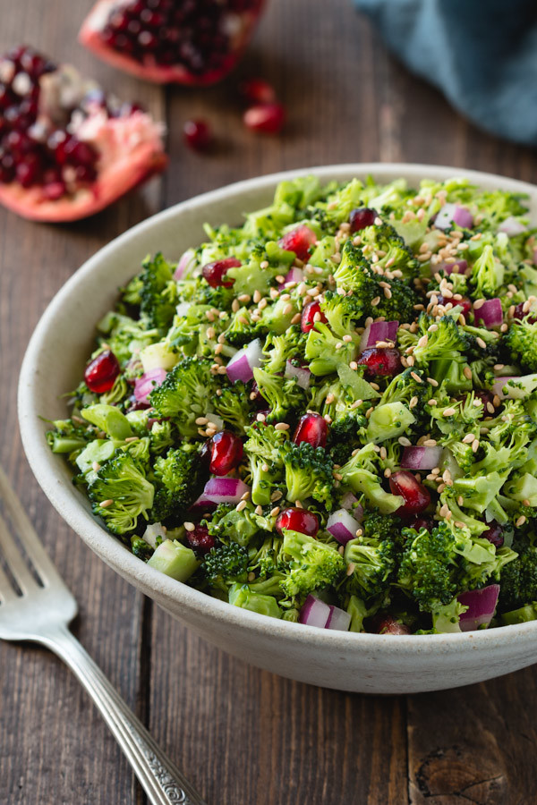 Broccoli Chopped Salad with Tahini Vinaigrette