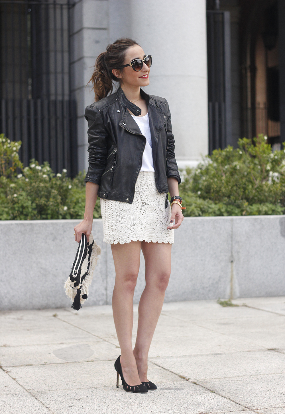 crochet skirt leather jacket black heels sunnies spring outfit style15