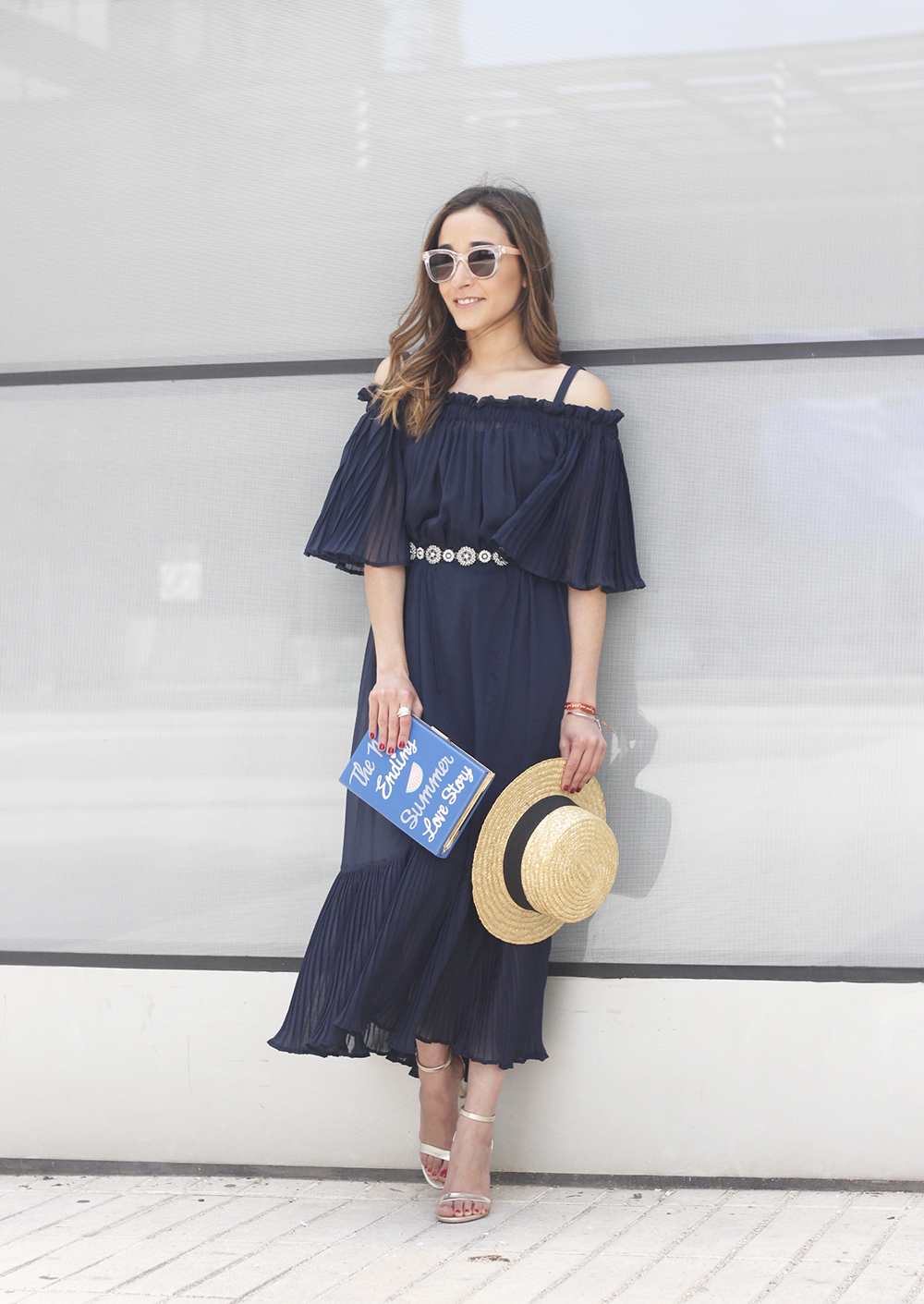 A Midi Dress With Pleated Ruffles heels clutch accessories sunnies fashion outfit summer03