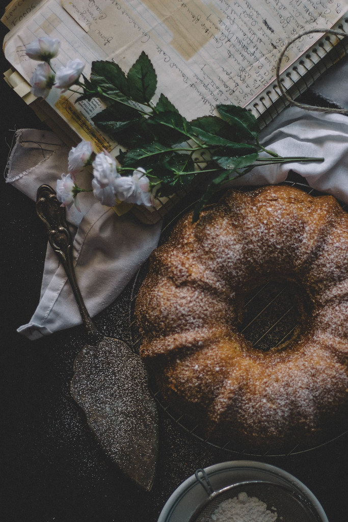 Butternut Pound Cake with Candied Walnuts