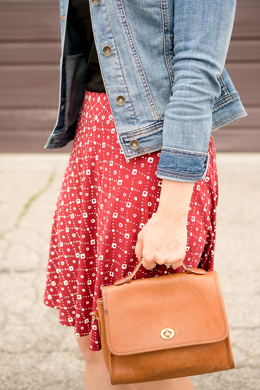 red patterned Loft skirt + black tee + jean jacket + stripe sandals, casual summer outfit | Style On Target