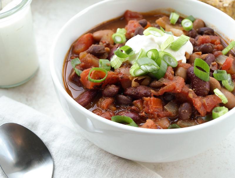 Texas Three Bean Chili & Sweet Chia Cornbread