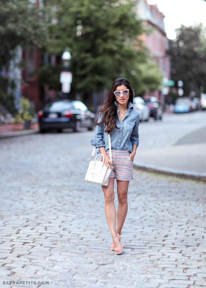 summer outfit_loft stripe shorts jcrew petites chambray