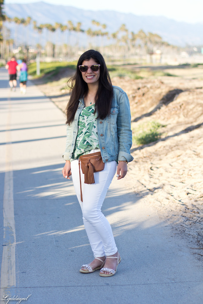 palm print blouse, white jeans, jeweled sandals, waist bag.jpg