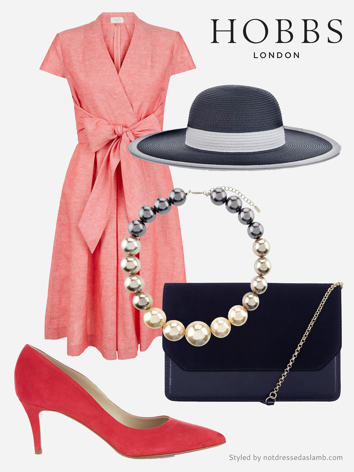Coral dress for the races or wedding guest outfit | Hobbs SS16 styled by Not Dressed As Lamb