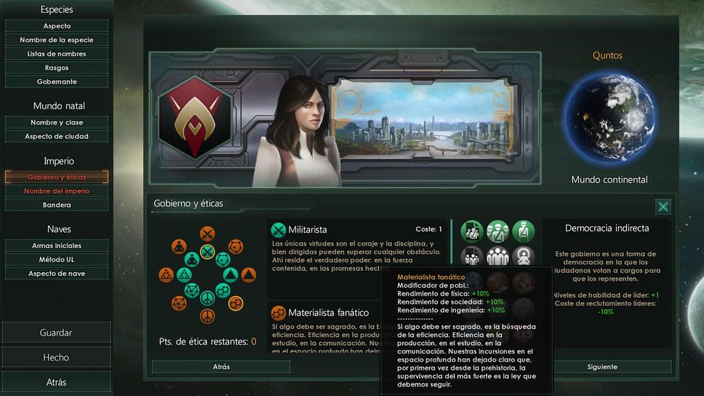 Stellaris eticas y gobierno