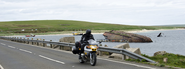 Egan crosses the Churchill Barriers, Orkney.