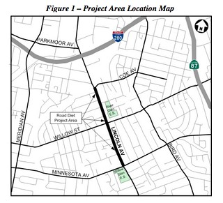 San Jose Department of Transportation, Road Diet Project Area Location Map, 6 June 2016