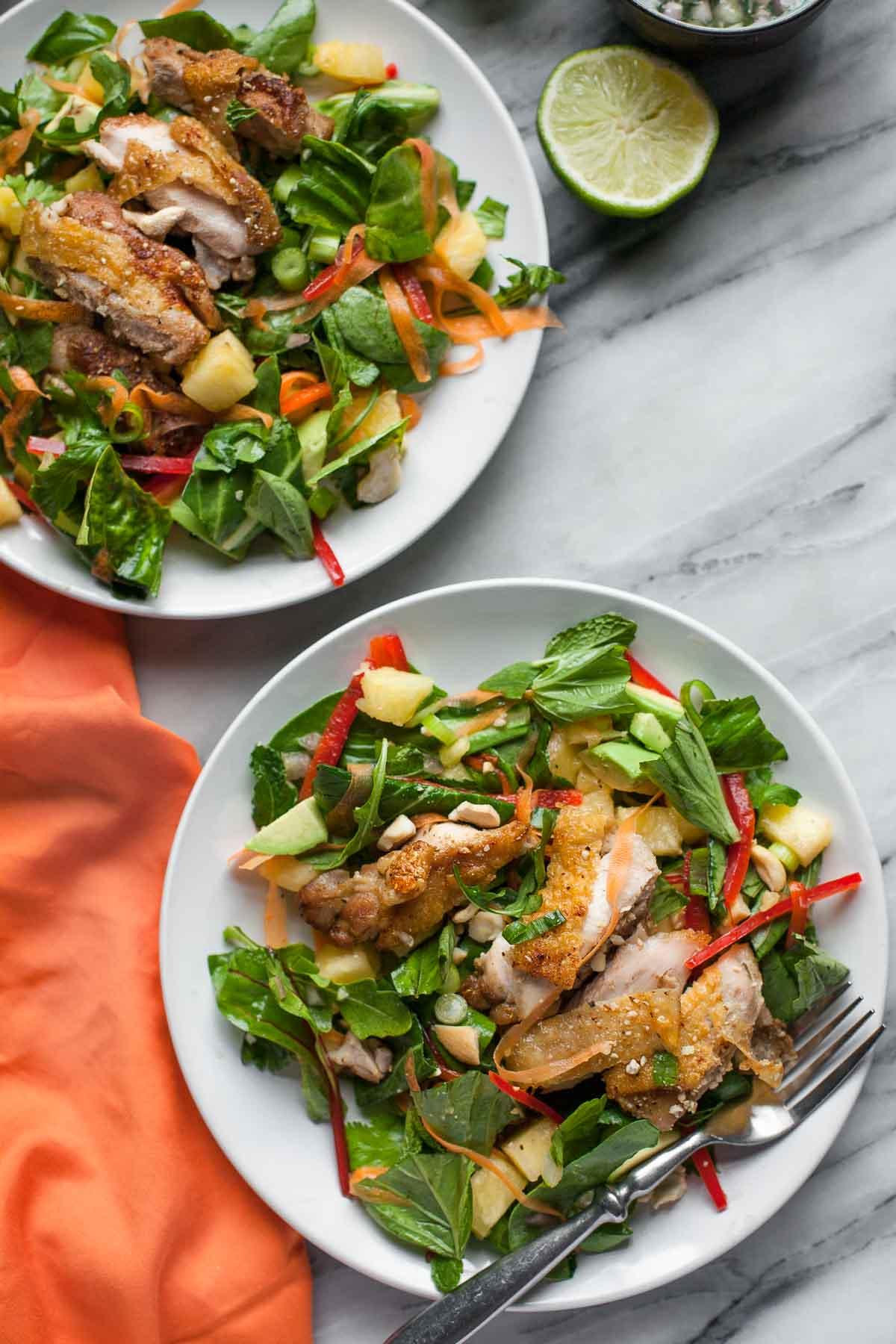 Crispy Chicken Thai Salad (Paleo, Gluten free, Dairy free)