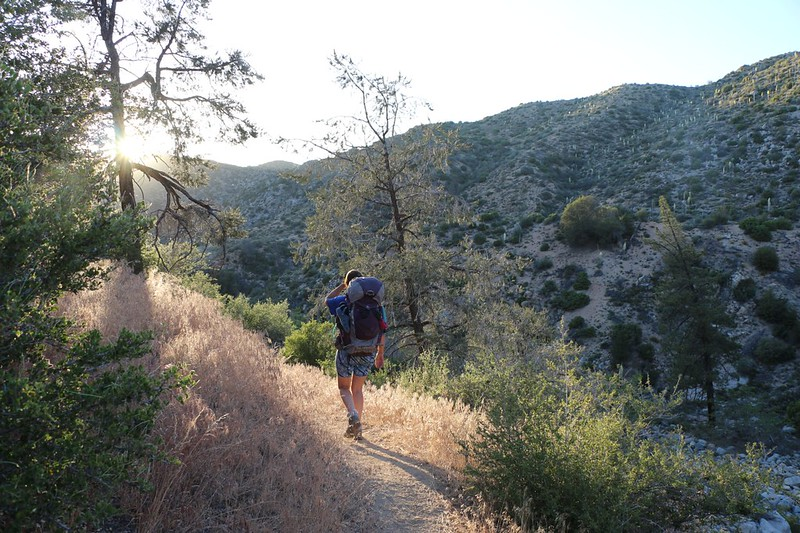 Hiking into the sunset on the PCT, hoping to find a campsite before dark