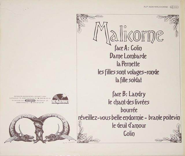 "MALICORNE 1 COLIN 12"" VINYL LP"