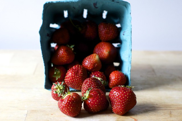 a tumble of overripe strawberries