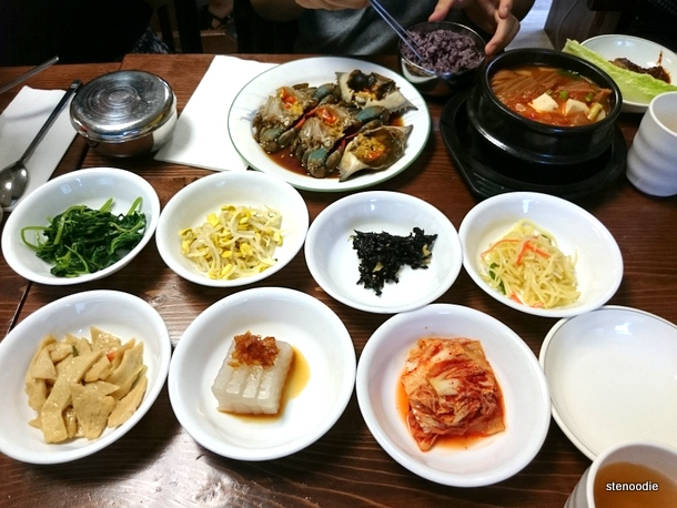 banchan and raw crab