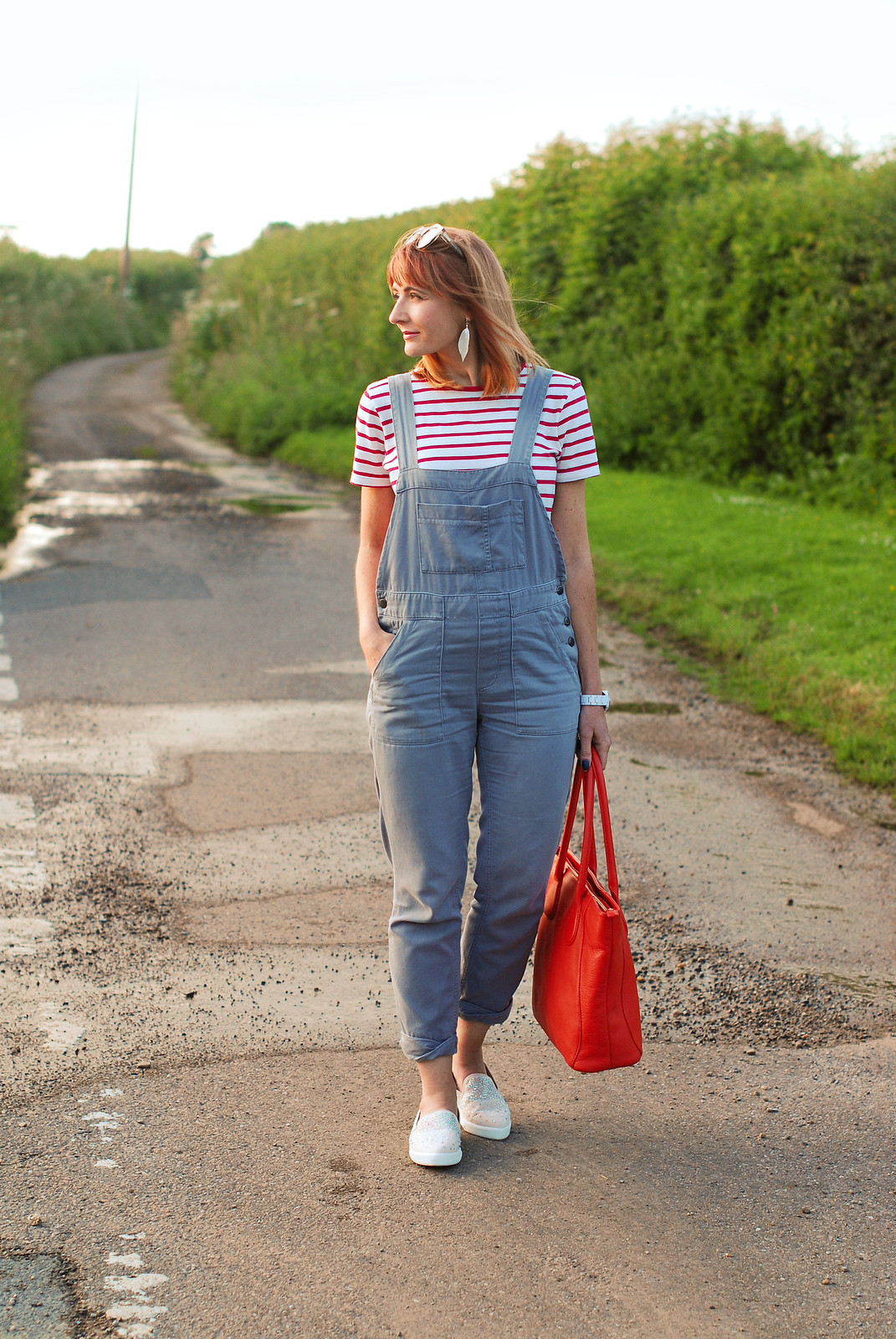 Casual spring summer look: Red Breton stripe t-shirt, grey dungarees, sparkly slip ons, orange tote | Not Dressed As Lamb