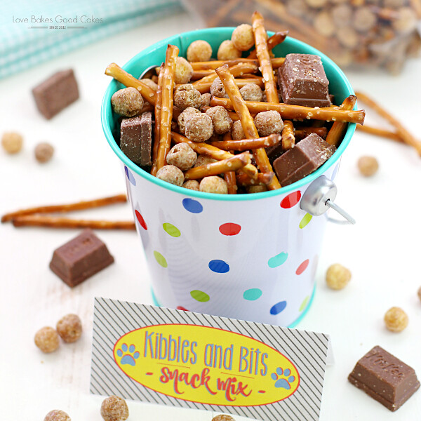 Kibbles & Bits Snack Mix in a metal pail close up.